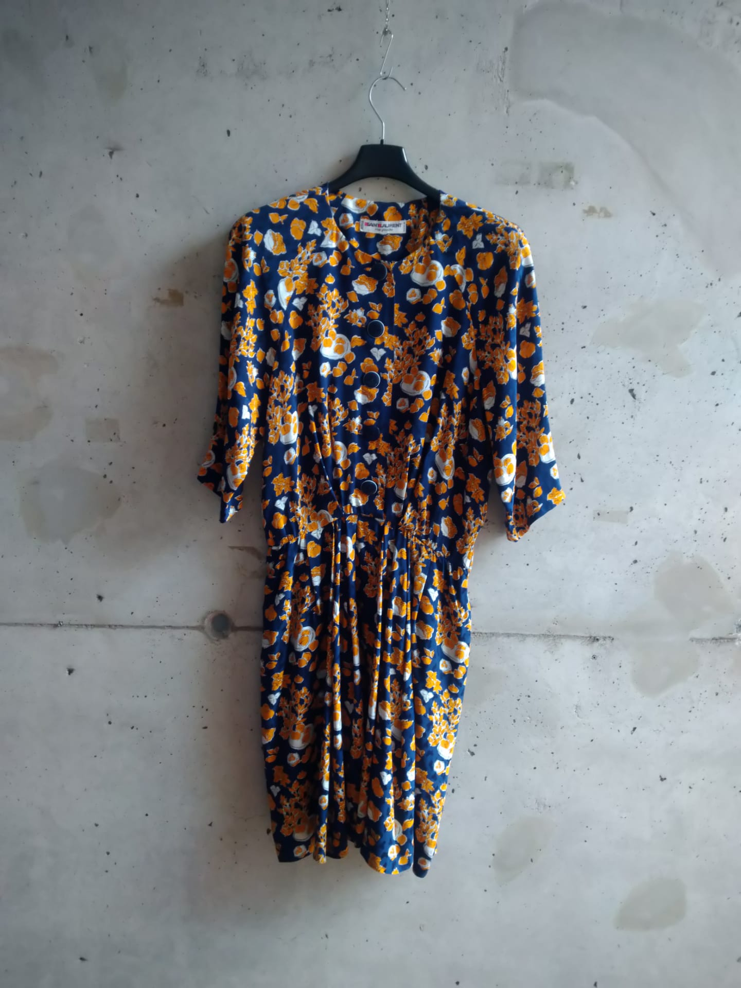 Yves Saint Laurent silk dress with a print of fruits and foliage