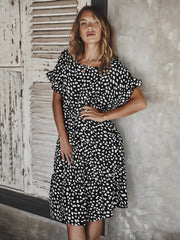 Polka Dot Short Sleeve Casual Shirt Dress O Neck Ruffled Holiday Midi Mini Dress