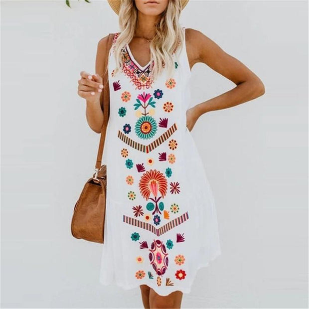 Sleeveless loose dress with V-neck print vest