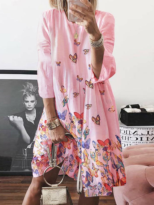 Summer Butterfly Printed Long-sleeve Round Neck Large Swing Dress