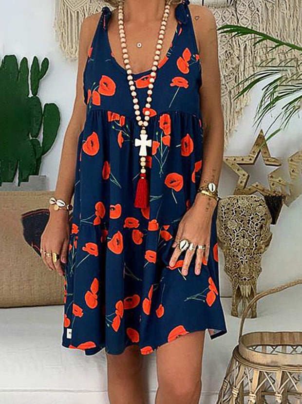 Summer Plus Size Vacation Sleeveless Flower Printed Dress