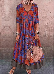 Vintage Floral Print Flared Sleeve Plus Size Maxi Dress