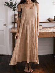 Khaki Solid Spaghetti-Strap Shift Round Neck Dresses