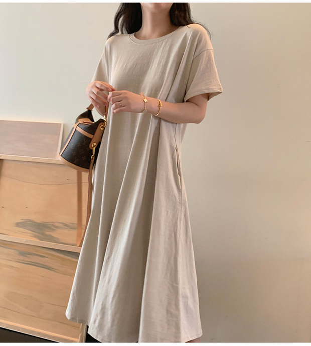2020 New Spring Summer large Size Short-sleeved A-line Loose Patchwork Maxi Dress