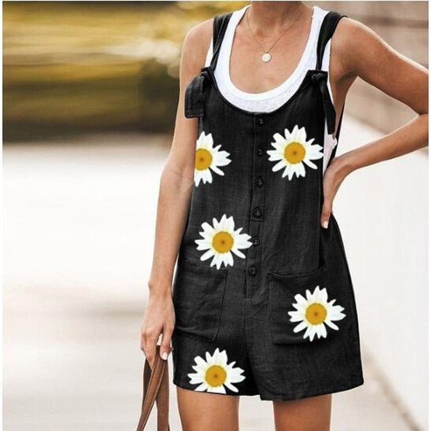 2020 Summer Daisy Prints Jumpsuit