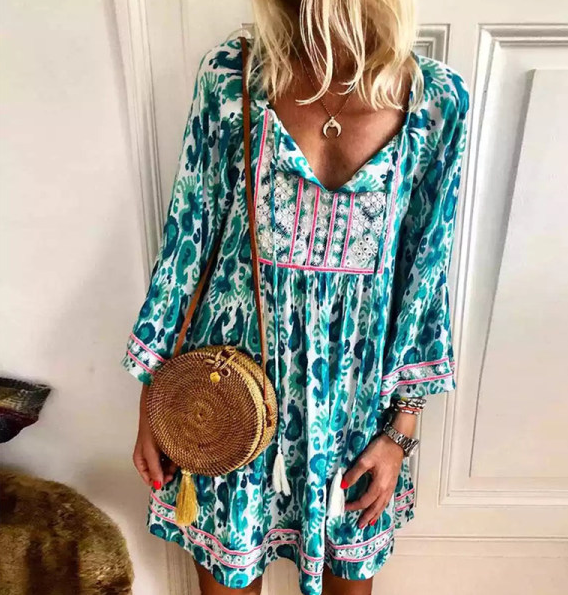 Bohemian V-neck high waist long sleeve printed dress