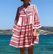 Bohemian Colored Flared Sleeve Pleated Dress