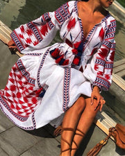 Hot Trend Style Pocket Printed Maxi Dress