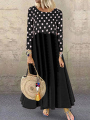Polka-Stitched Round Neck Long-Sleeved Dress