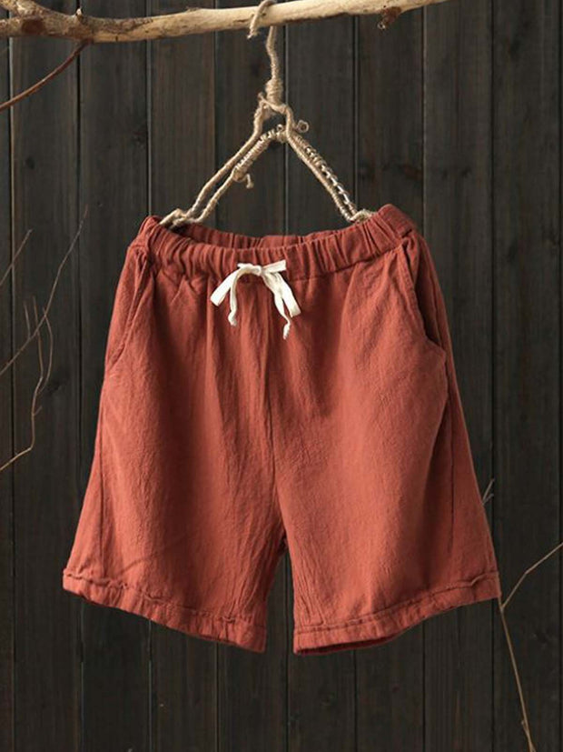 Casual Pants Plus Size Women Solid Pockets Drawcord Shorts
