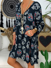 Summer V-Neck Skull Print Dress