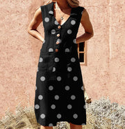 V Neck Polka Dot Sleeveless Buttons Pockets A-line Plus Size Dress
