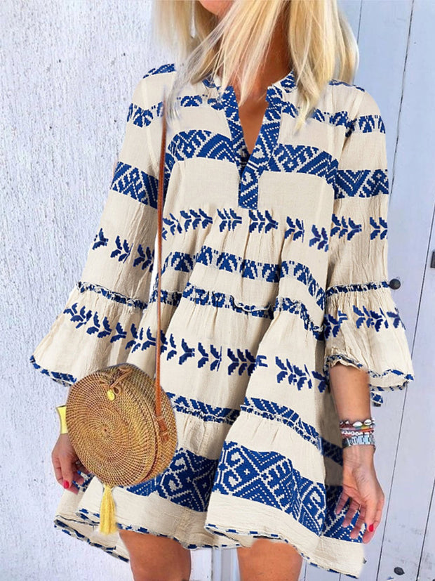 Sweet Bohemian Henley Collar Ruffled Dress