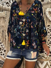 Casual V-neck Floral Printed Loose Top