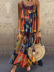 Vintage Print Sling Maxi Two Piece Dress