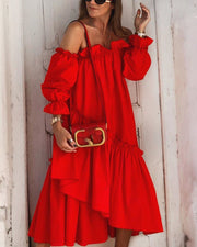 Solid color word shoulder two wear big swing dress