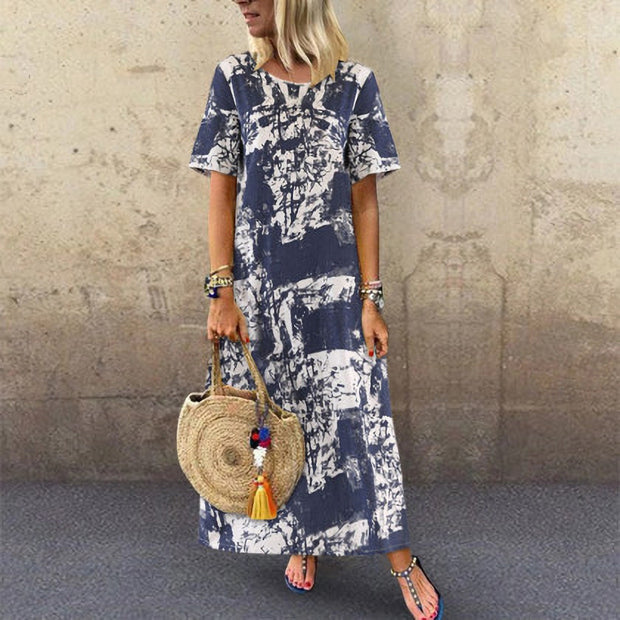 Summer Vintage Print Loose Casual Maxi Dress