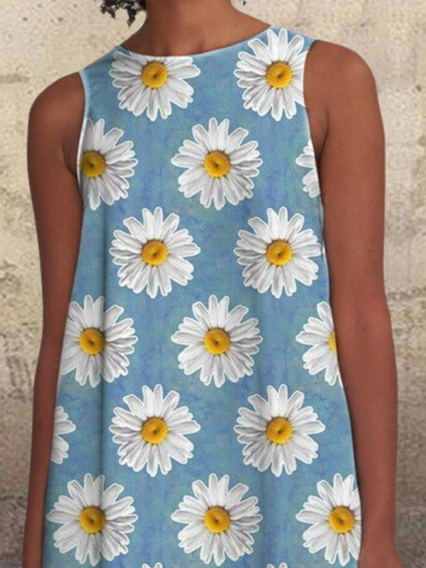 Daisy Blue Floral Pockets Vintage Sleeveless Scoop Neckline  A-line Casual Dresses