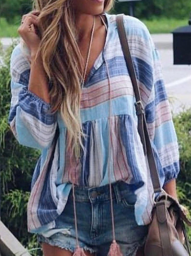 Women V Neck Lantern Sleeve Striped Printed Blouses