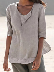 Summer Casual Clothing Half Sleeve V Neck  Solid Shirts