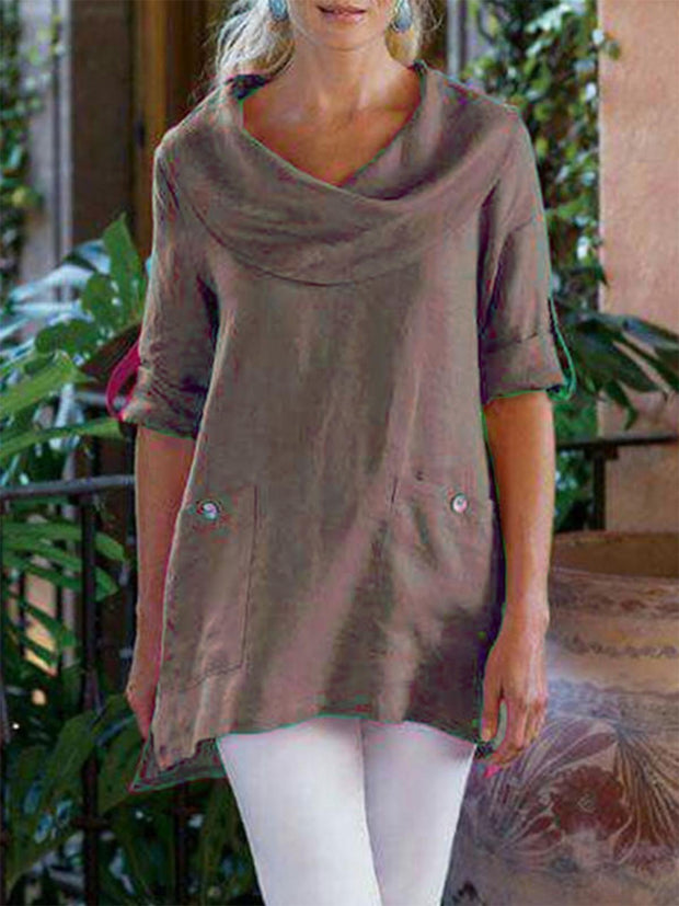 Summer Casual Cowl Neck Blend Shirts