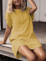 Summer Plus Size Casual Solid Casual Short Sleeve Dresses