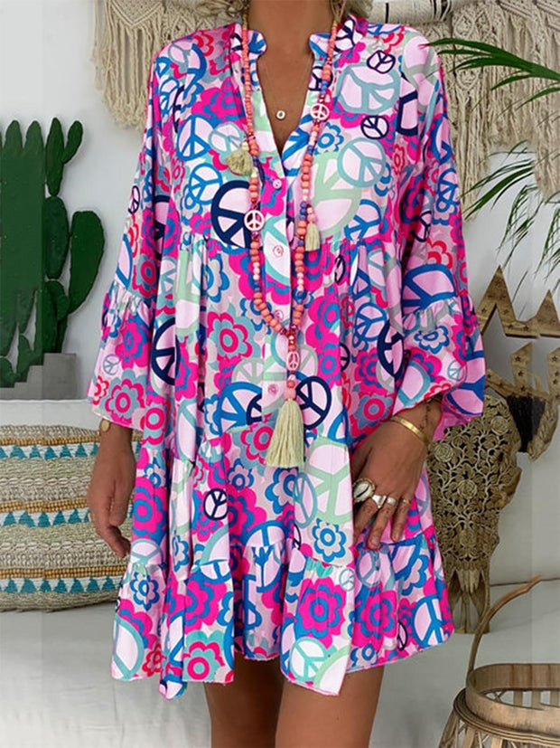 V Neck  Printed Buttoned Abstract Shift Daytime  Casual Dresses
