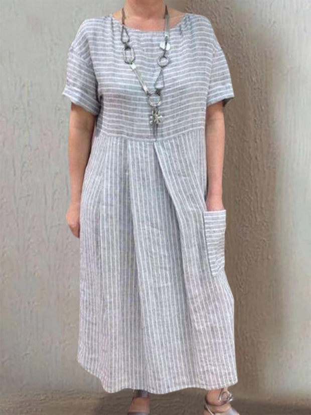 Women Summer Dress Pockets Pleated Details Round Neck Striped Dresses