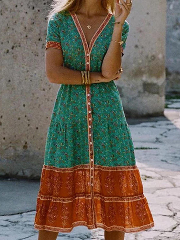 V Neck Women Summer Dresses Daytime Patchwork Boho Dresses