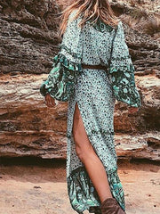 Green A-line Women V neck Boho Balloon Sleeve Paneled Floral Dress