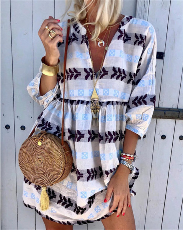 Women V Neck Bohemian  Middle Sleeve Printed Color Dress
