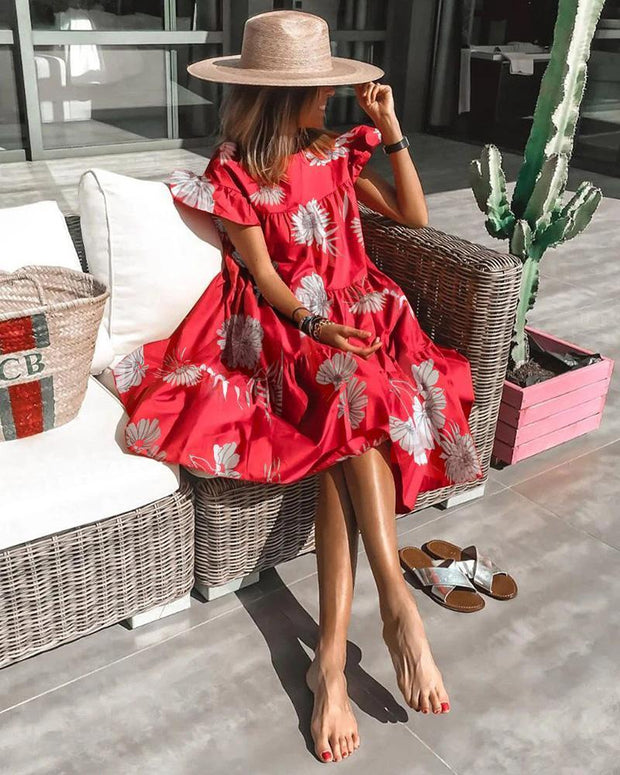 Casual Print Flower Midi Dress
