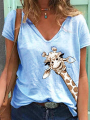 Light Blue Simple Printed V Neck Shirts & Tops