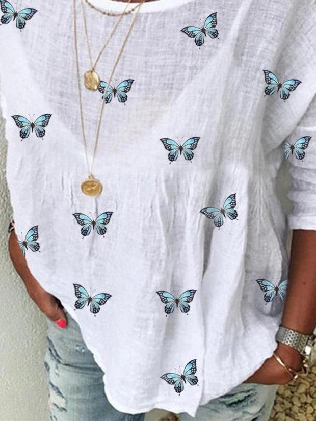 Women's White Daily Casual Shift Butterfly Printed 3/4 Sleeve Linen Shirts & Tops