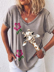 Women's Casual V Neck Printed Shirts & Tops