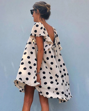 Cute polka dot backless loose mini dress