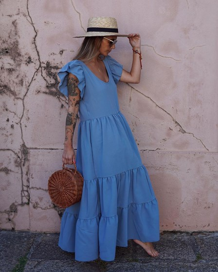 V-Neck Casual  Layered Maxi Dress