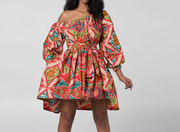 Vintage Off Shoulder Printed Mini Dress