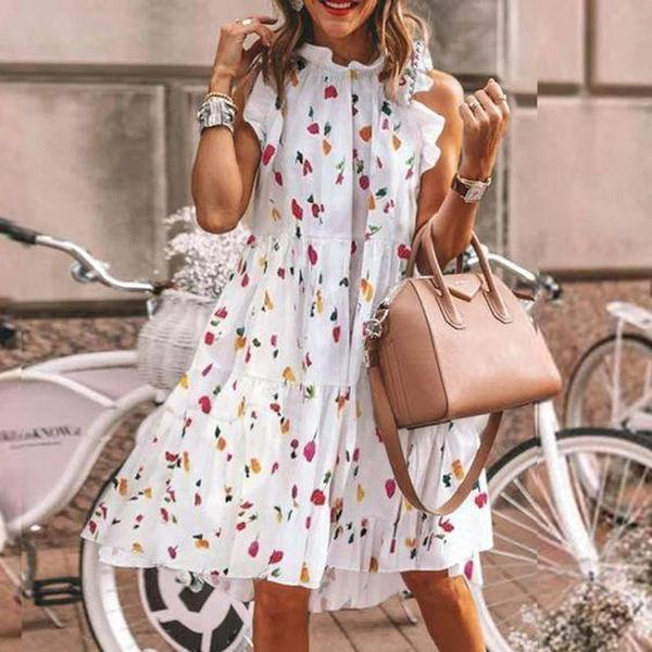 Women Ditsy Floral Sleeveless A Line Mini Dress