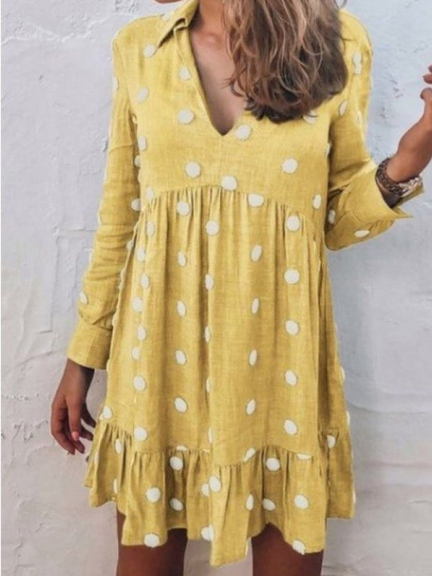 Women Shirt Collar V-Neck Polka Dots Sweet Dresses
