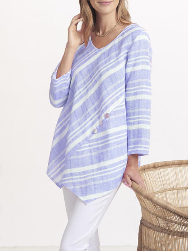 Asymmetrical Striped Long Sleeve Leisure Blouse