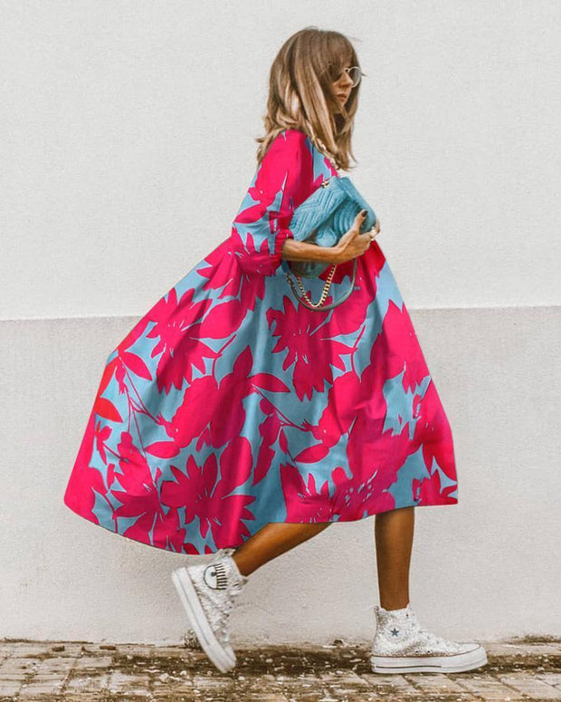 Casual Print Midi Dress