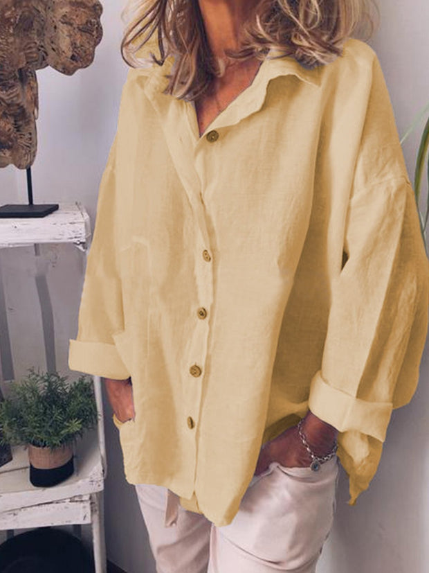 Solid Lapel Long Sleeve Button Up Casual Blouses