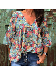 Floral Printed Plus Size V Neck 3/4 Sleeve  Casual Tops