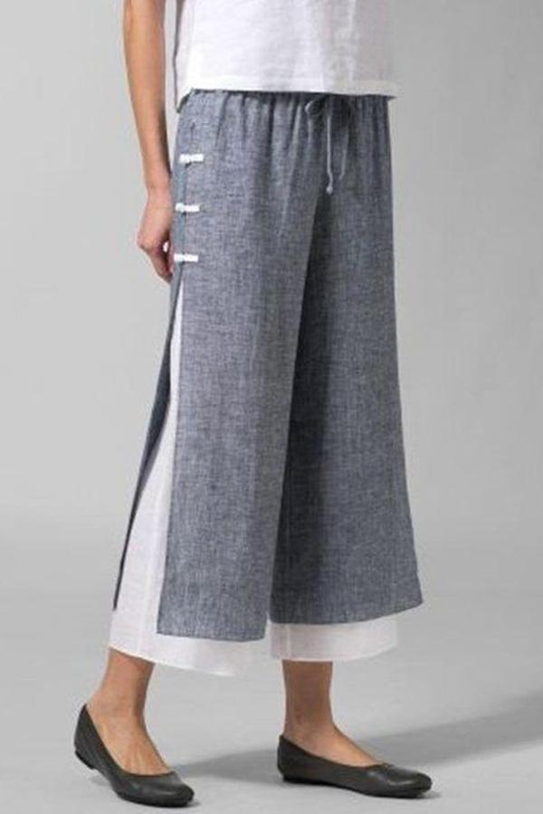 Casual Paneled Wide Leg Pants