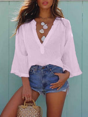 V Neck Blouse Loose Casual Long Sleeve T-shirt
