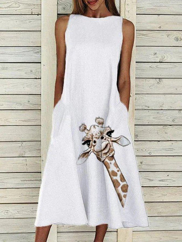 White Giraffe Bateau/boat Neck Shift Sleeveless Printed Dresses