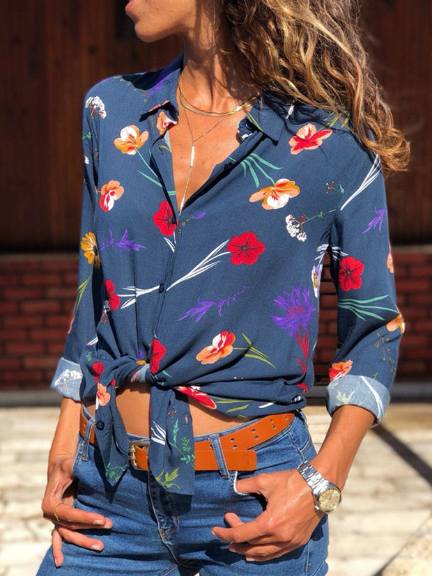 Flower Printed Women Long Sleeve Loose Chiffon Blouses