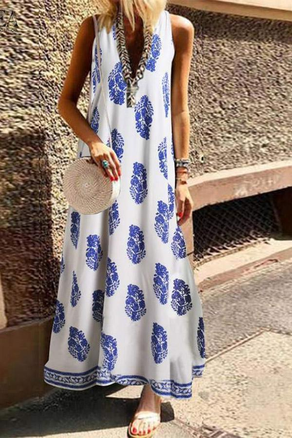 Pockets Sleeveless Floral Maxi Dress