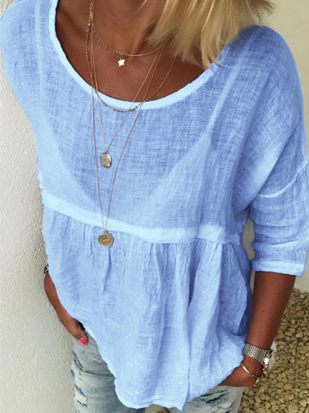 Summer Casual Round Neckline 3/4 Sleeves Solid Blouses